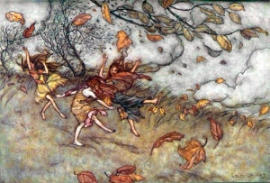 aurthur rackham joy of a fallen leaf 2