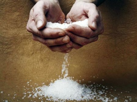 salt running through hands